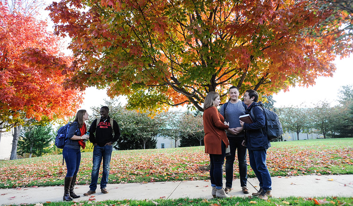 students on campus during fall